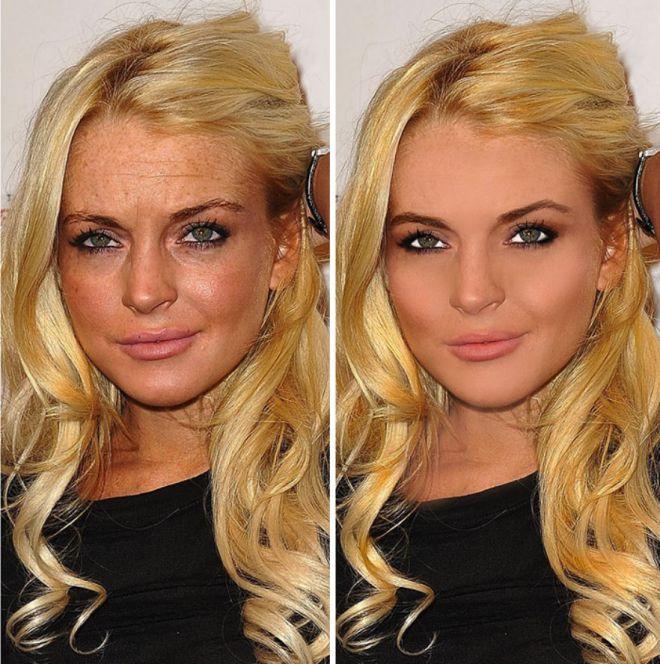 Линдси Лохан до и после фотошопа