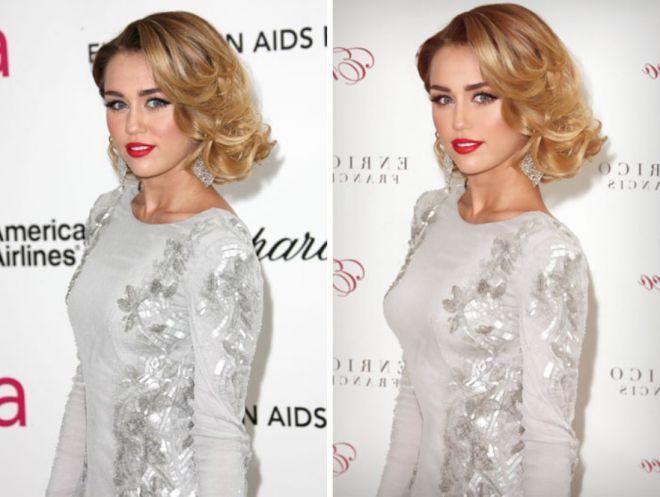 Майли Сайрус до и после фотошопа
