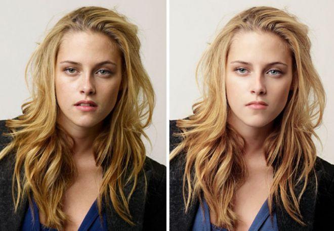 Кристен Стюарт до и после фотошопа