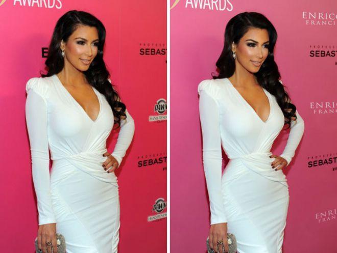 Ким Кардашьян до и после фотошопа