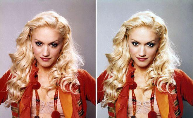 Гвен Стефани до и после фотошопа