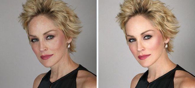 Шэрон Стоун до и после фотошопа