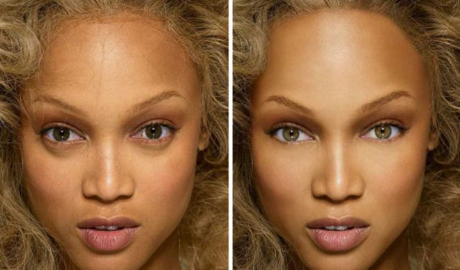 Тайра Бэнкс до и после фотошопа