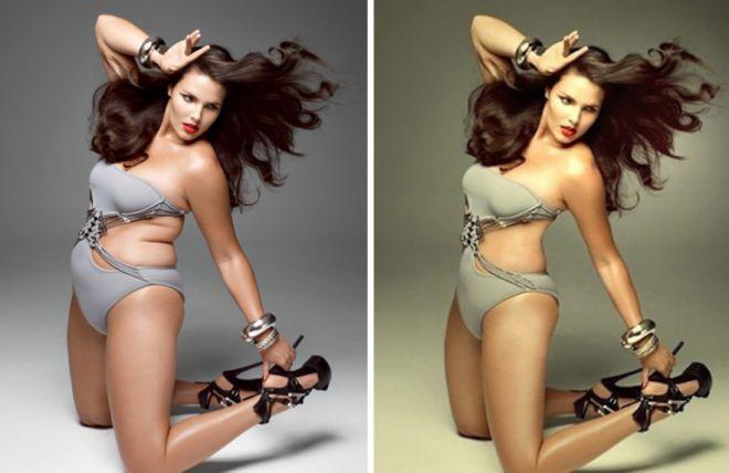 Кэндис Хаффин до и после фотошопа
