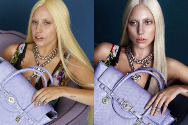 Леди Гага до и после фотошопа