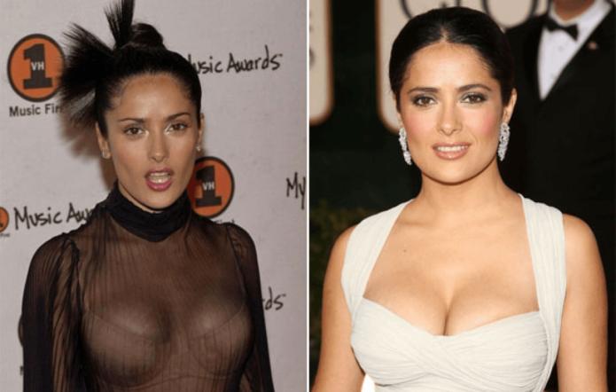 Звезда Голливуда Сальма Хайек до и после пластики груди