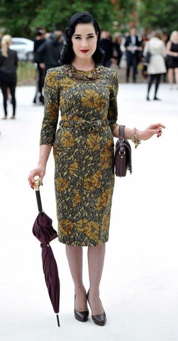 Дита фон Тиз на Неделе моды в 2014 году