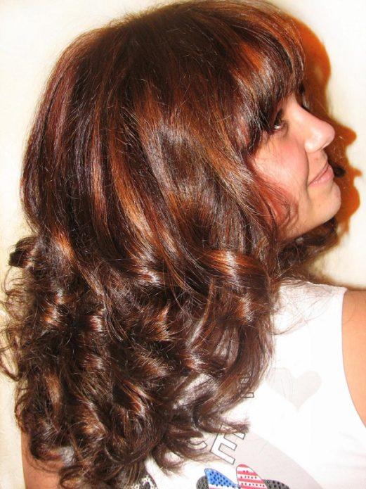 Волосы, окрашенные смесью хны и кофе
