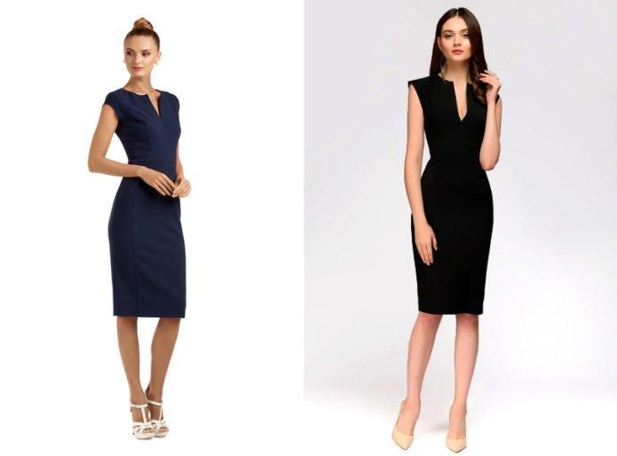 Черные приталенные платья