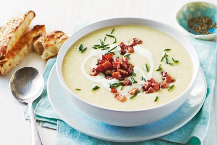 Картофельный суп-пюре с копчёностями