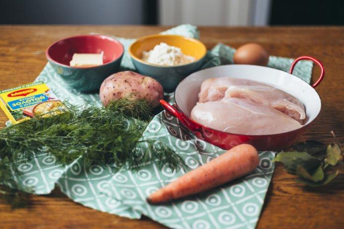 ингредиенты для куриного супа с клёцками
