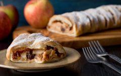 Яблочный штрудель из слоёного теста — рецепт приготовления