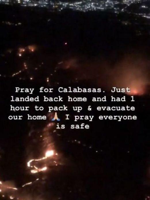 Ким Кардашьян эвакуировалась из-за пожара