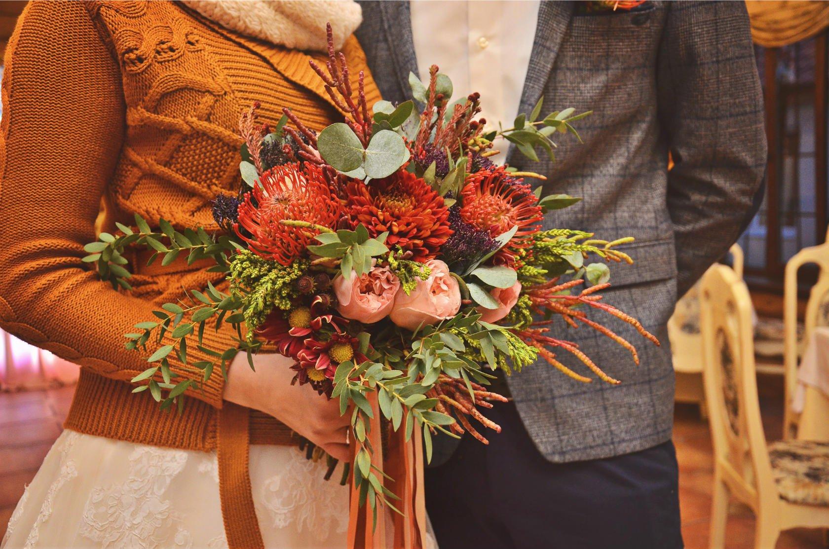 свадебные букеты для невесты осенние фото родавцы