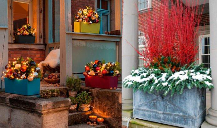 новогодний декор двора