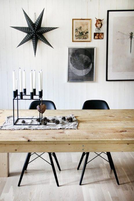 Чёрно-белый новогодний декор