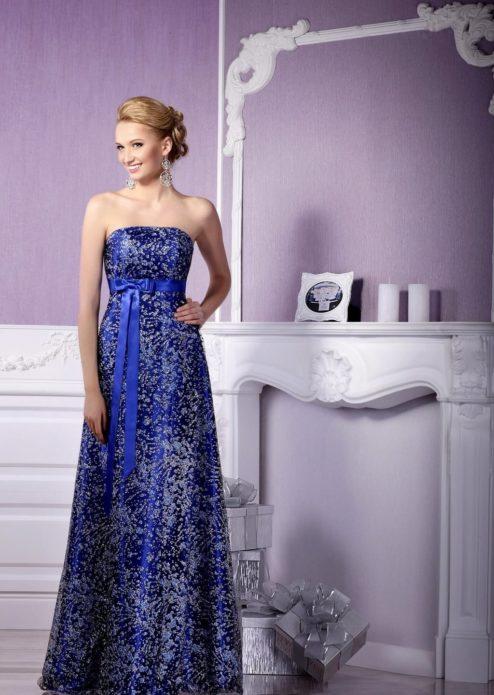 Синее вечернее платье