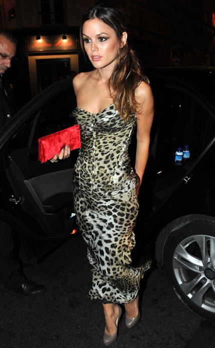 Леопардовое платье с красным кошельком