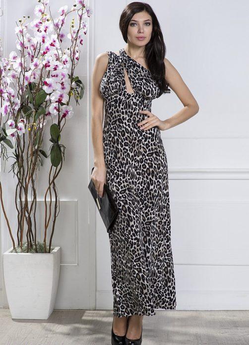 Леопардовое платье с чёрным клатчем