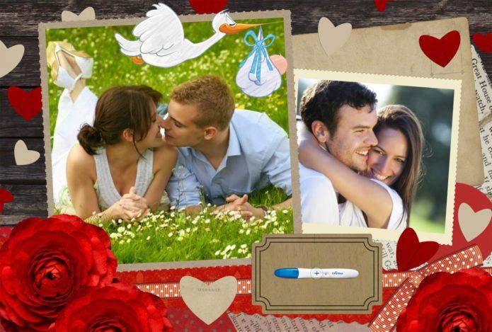 Коллаж с фотографиями пар, аистами и сердечками