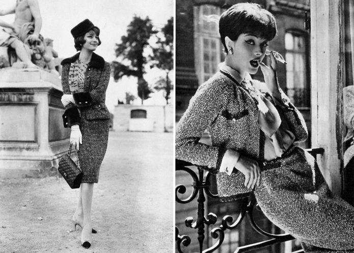 костюм Коко Шанель, чёрно-белое фото