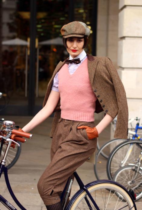 девушка, английски стиль, велосипед