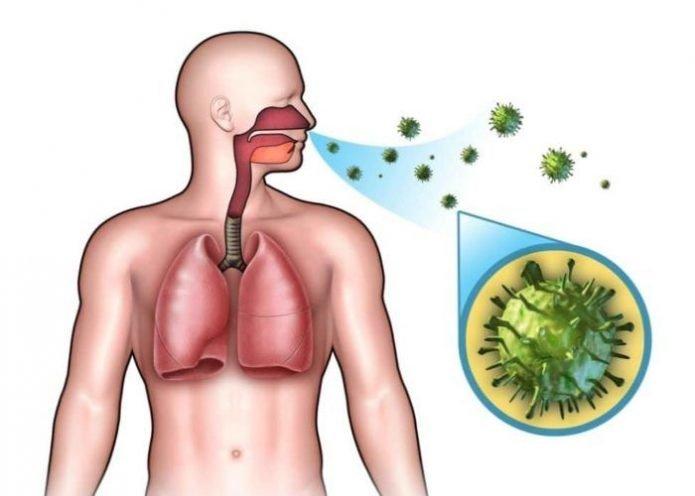 Схема воздушно-капельного пути распространения вирусов гриппа и ОРВИ