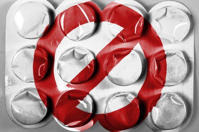 Блистер от таблеток со знаком запрета