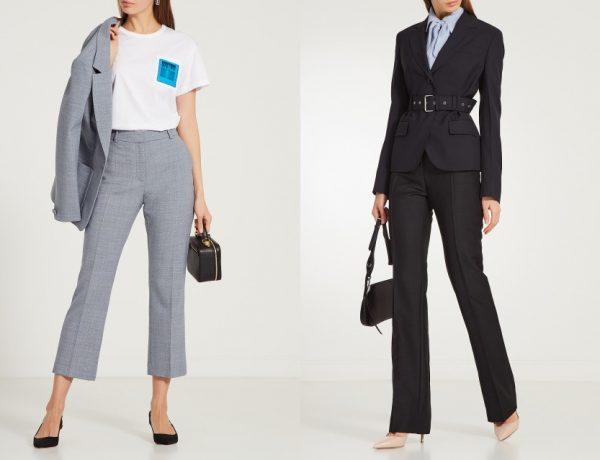 луки с серыми и черными классическими брюками