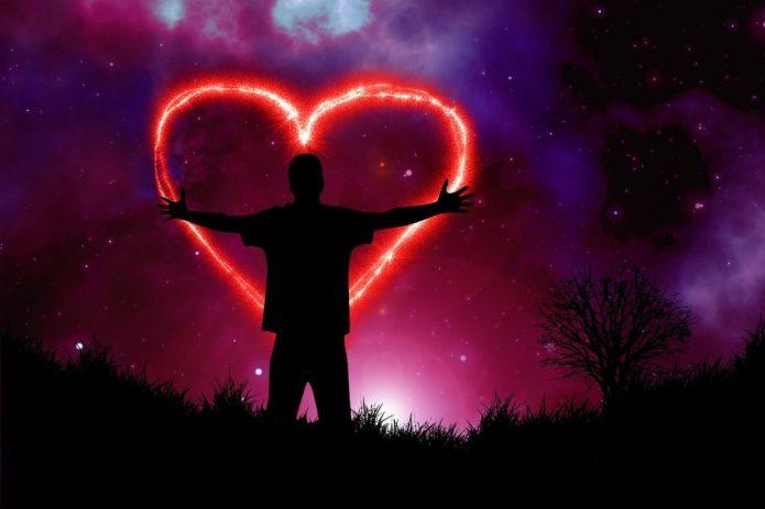 мужчина, сердце, космос