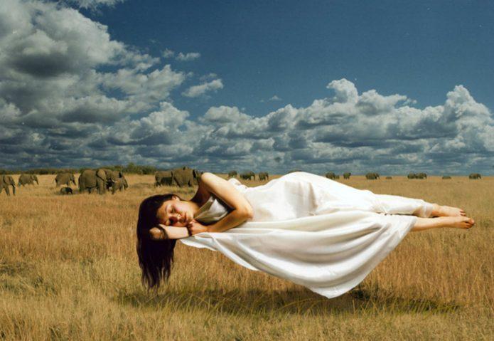 спящая девушка парит над землёй, поле, слоны, голубое небо