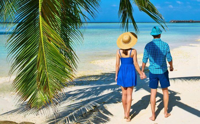 пара, пляж, пальма, море