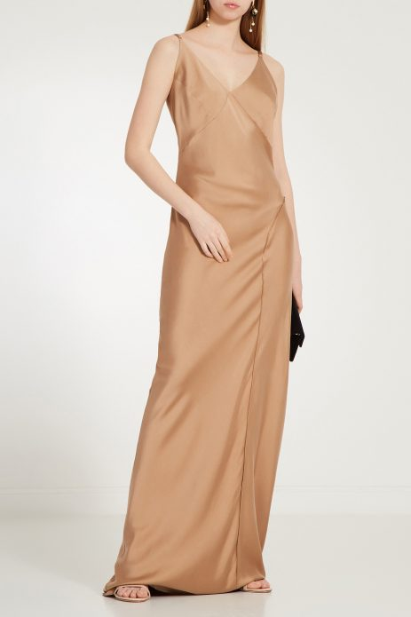 Бежевое платье-комбинация