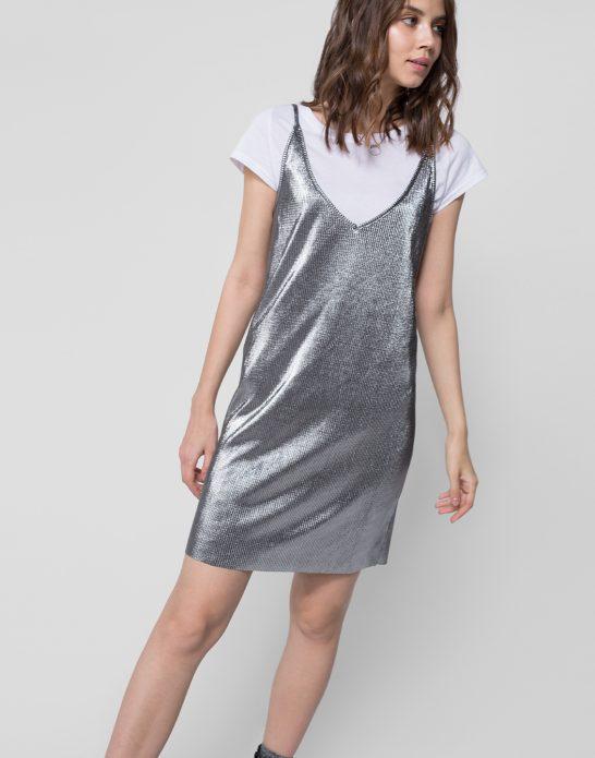 Серебряное платье-комбинация