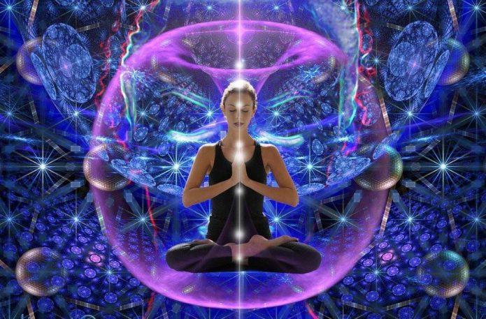 девушка, медитация, аура