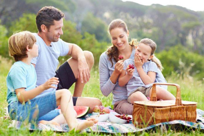 семья с детьми на природе
