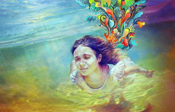 девушка под водой, воображение