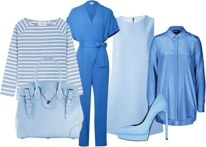 модный лук на белом фоне в синих и голубых тонах