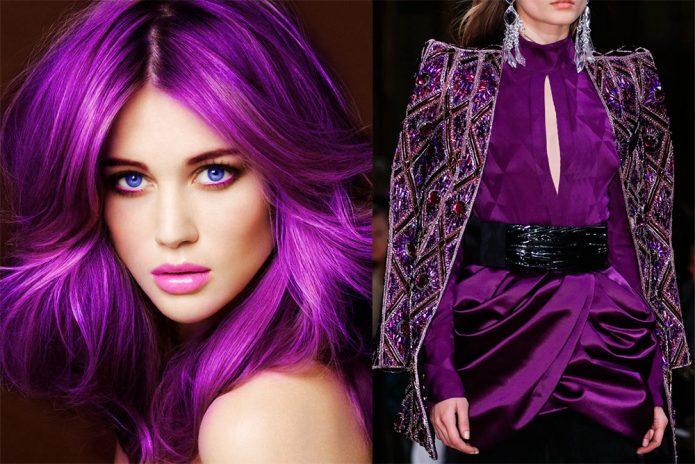 пурпурный цвет на волосах, пурпурная одежда