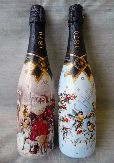 роспись бутылок шампанского