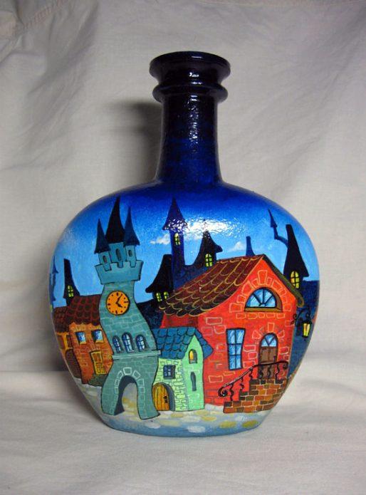 роспись бутылки акриловыми красками