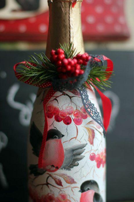 праздничная роспись бутылки