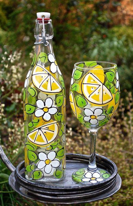 роспись бутылки для лимонада