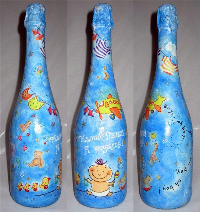 роспись бутылки в честь новорождённого