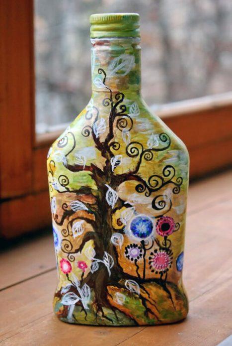 разрисованная бутылка