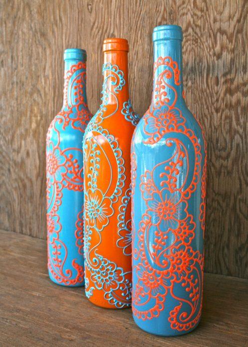 роспись бутылок узорами
