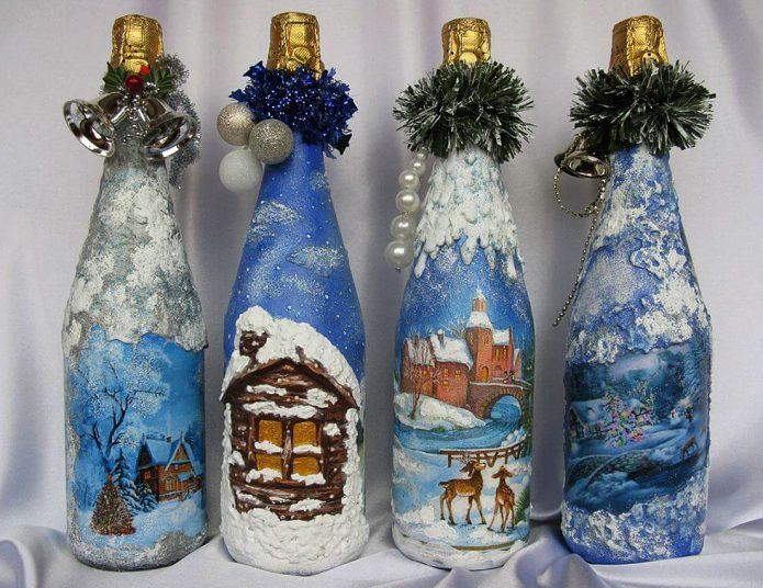 новогодние бутылки шампанского