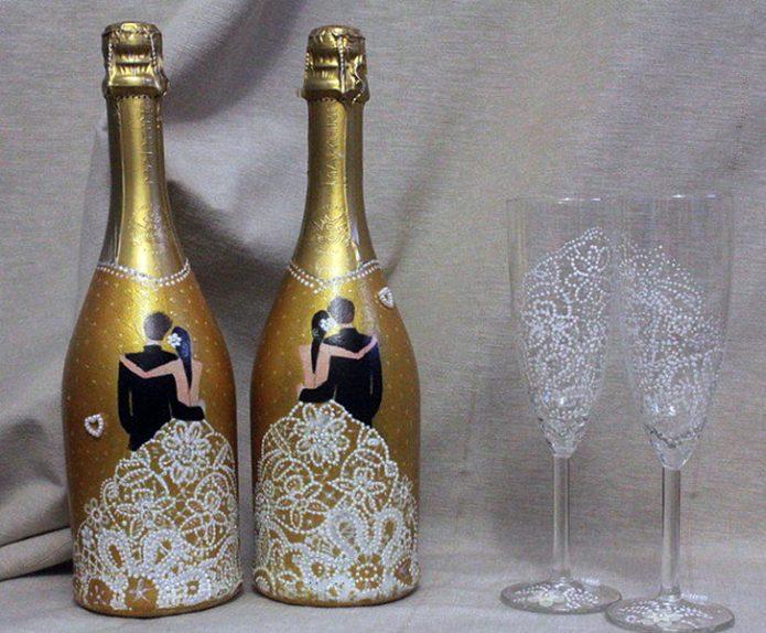 свадебная роспись бутылок