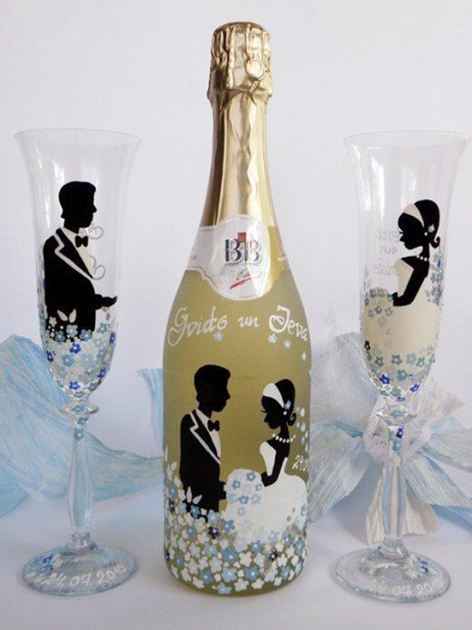 роспись бутылки на свадьбу