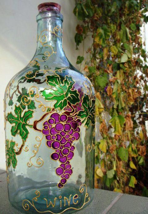 роспись бутылки для вина